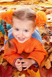 Girl child in autumn orange leaves. royalty free stock image