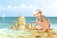 Girl child beach sand castle character cartoon style  Royalty Free Stock Images