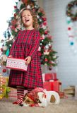 Girl child celebrates Christmas with dog Jack Russell Terrier at stock image