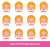 Girl child cute emoji, set smily emoticons faces Royalty Free Stock Images