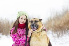 Girl child and dog Royalty Free Stock Photos