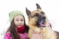 Girl child and dog Royalty Free Stock Photo