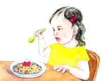 Girl child eating porridge with raspberries. Hand Painted Watercolor Illustration: Girl child eating porridge with raspberries Royalty Free Stock Photo