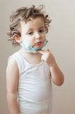 Girl  child  epidemic flu medicine   medical mask kid Royalty Free Stock Photos