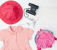 Girl Child Explorer traveler pink fashion accesories. Stuff Royalty Free Stock Image