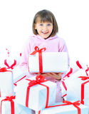 Girl child with gift box. Royalty Free Stock Photography