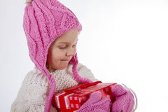 Girl child with a gift Stock Photography