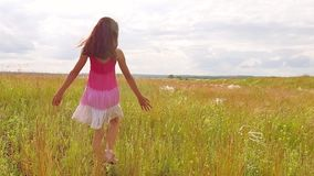 Girl child goes lifestyle on nature by field grass summer sunlight slow motion video steadicam. childhood concept video