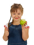 Girl child holding an apple Stock Photo