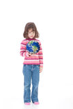 Girl child holding world environment in hand. Girl holding world in hand. Isolated on white royalty free stock image