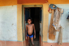 Girl child in India. June 02,2011 Rampurhut,Birbhum,West Bengal,India,Asia- A tribal girl in a house at the remote village of West Bengal Stock Photo