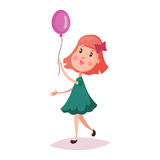 Girl or child, kid holding air balloon on rope Stock Images