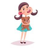 Girl or child, kid or schoolgirl with teddy bear Stock Image