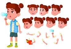 Girl, Child, Kid, Teen Vector. Little. Funny. Junior. Friendly. Face Emotions, Various Gestures. Animation Creation Set vector illustration