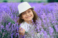 Girl child is in the lavender flower field, beautiful summer landscape royalty free stock photos