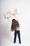 Girl child  love valentines day  fiancee sign Royalty Free Stock Images