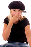 Girl Child Ohh No!. Young girl in cute has expressing embarassment Stock Photos