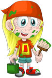 Girl child painter character cartoon style  illustration Royalty Free Stock Images