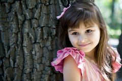 Girl child in pink dress Stock Photo