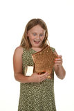 Girl child with present Stock Image