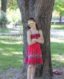 Girl child in protective glasses