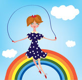 Girl child on the rainbow cartoon Stock Photography