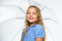 Girl child ready meet fall weather with umbrella. Enjoy rainy days with umbrella accessory. Best fall accessory concept. Stay positive. Fall favorite time of royalty free stock photography