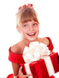 Girl child  in red dress with gift box. Royalty Free Stock Photo