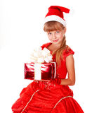 Girl child santa clause in red dress, gift box. Stock Images