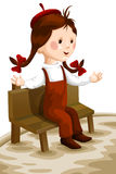 Girl child sit bench character cartoon style  illustration Royalty Free Stock Image