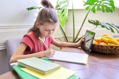 Free Girl Child Studying At Home Using Digital Tablet Royalty Free Stock Image - 182863206