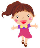 Girl. Child walking, front view, vector illustration, happy cartoon character, , white background Royalty Free Stock Photography