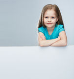 Girl child with white board. Isolated portrait. Stock Images