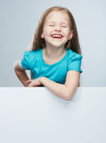 Girl child with white board.  portrait. Royalty Free Stock Photography