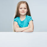 Girl child with white board.  portrait. Royalty Free Stock Photos