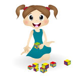 Girl children with cube alphabet Royalty Free Stock Photos