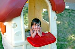 Girl in Children's Village Stock Photo