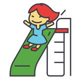 Girl on children slide, playing kid, kindergarten concept. Line vector icon. Editable stroke. Flat linear illustration isolated on white background vector illustration