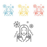 Girl chill, fever on white background. Vector illustration Royalty Free Stock Photos