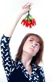 Girl with chilli Stock Image