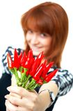 Girl with chilli Stock Photography