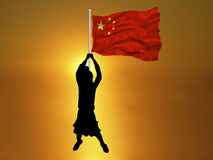 Girl China Flag Royalty Free Stock Image