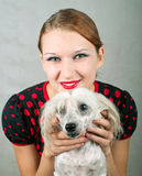 Girl and chinese crested dog. The beautiful girl and chinese crested dog on grey background. Shallow DOF, focus on girl stock photos