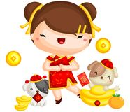 Girl Chinese New Year royalty free illustration