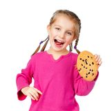 Girl with chip cookies Stock Images