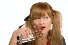 The girl and chocolate Royalty Free Stock Image