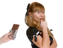 The girl and chocolate Royalty Free Stock Photo