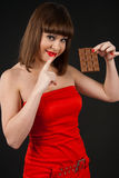 Girl with chocolate royalty free stock photography