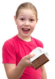 The girl with a chocolate Stock Photography