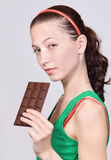 Girl with chocolate Royalty Free Stock Photo